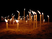 A sea of candles.  Royalty Free Stock Photos