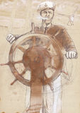 Sea captain. The Leader. A hand drawn illustration of an ship captain Stock Images