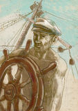 Sea captain. The Leader. A hand drawn illustration of an ship captain (and group of people Royalty Free Stock Images