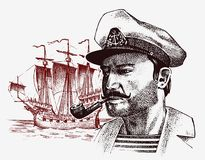 Sea captain against the background of sailboat, marine sailor with pipe, bluejacket. portrait of the seaman. travel by. Ship or boat. engraved hand drawn Stock Photo