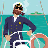 Sea captain on the deck with ships steering wheel. Happy sea captain looks funny with a mustache and a pipe standing on the deck of the ship and rotates ship Royalty Free Stock Photo