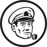 Sea Captain Smoke Pipe Circle Retro Stock Photos
