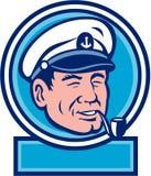 Sea Captain Smoking Pipe Circle Retro Royalty Free Stock Photography