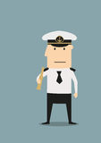 Sea captain in uniform with spyglass Royalty Free Stock Photo