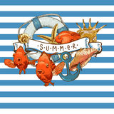 Sea Card with, Anchor, Lifeline and fish. Summer Card with Sea Shells, Anchor, Lifeline and fish on Striped Background Stock Photography