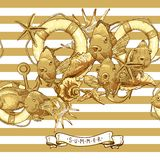 Sea Card with, Anchor, Lifeline and fish. Summer Card with Sea Shells, Anchor, Lifeline and fish on Striped Background Royalty Free Stock Photography