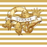 Sea Card with, Anchor, Lifeline and fish. Summer Card with Sea Shells, Anchor, Lifeline and fish on Striped Background Royalty Free Stock Images