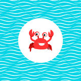Sea card with crab in circle Royalty Free Stock Photography
