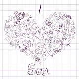 Sea card with heart Royalty Free Stock Images