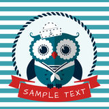 Sea card with sailor owl. Vector illustration. Stock Images