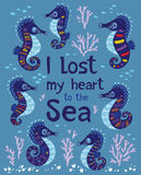 Sea card with stylized cartoon seahorse Royalty Free Stock Photography