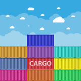Sea 0cargo containers. Colorful sea cargo containers at blue sky background with clouds. logistics, transportation concept. vector illustration in flat design Royalty Free Stock Photo