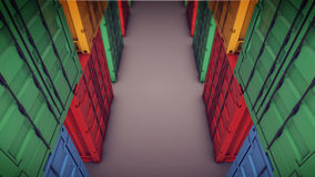 Sea cargo containers in rows. 3d rendering of sea cargo containers in rows Royalty Free Stock Photography