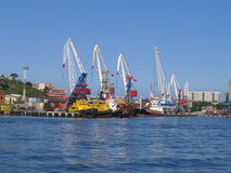 Sea cargo cranes royalty free stock photos