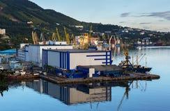 Sea cargo port in the city of Petropavlovsk-Kamchatsky. Royalty Free Stock Image