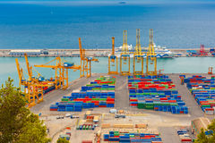 Sea cargo port and container terminal, Barcelona Royalty Free Stock Images