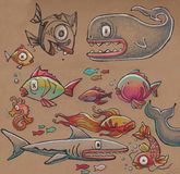 Sea cartoon animals Stock Image