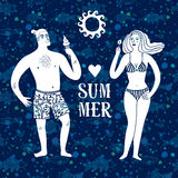 Sea cartoon illustration with man and woman on vacation Stock Photo