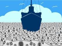 Sea of Cash. A conceptual illustration of an ocean liner or ship cruising through a sea of cash Royalty Free Stock Photos