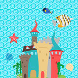 Sea castle and waves pattern wallpaper stock illustration