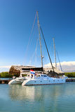 Sea catamaran in a harbor Royalty Free Stock Photography