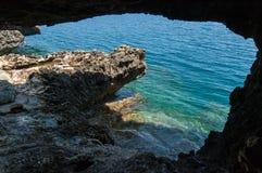 Sea cave. Small sea cave near Kavo Greco (Cape Greco) in Cyprus Stock Images
