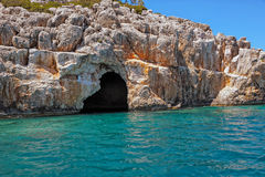 Sea cave at the coast of Turkey Stock Photos