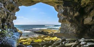 Sea cave in La Jolla overlooking Pacific Ocean royalty free stock photography