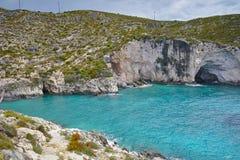 Sea Cave in Limnionas beach bay at Zakynthos island, Greece Stock Photos