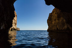 Sea cave on the mediterranean sea Royalty Free Stock Photos