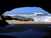 Sea cave, San Gregorio, CA Royalty Free Stock Photo
