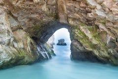 Sea Cave in Shark Tooth Beach. Taken in Davenport, California, USA stock photos