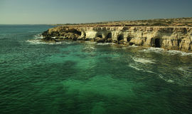 Sea caves of Ayia Napa with blue, green crystal clear water Stock Photo