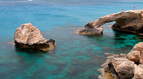 Sea caves  Cape Greco area in Cyprus Royalty Free Stock Image