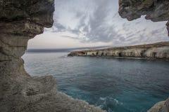 Sea caves,Cape Greko. Mediterranean Sea,Cyprus Stock Images