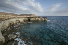 Sea caves,Cape Greko. Mediterranean Sea,Cyprus Royalty Free Stock Photography