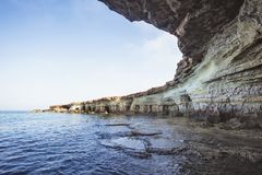Sea caves of Cavo greco cape. Ayia napa, Cyprus. Mediterranean sea landscape Royalty Free Stock Photography