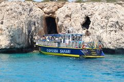 Sea caves in Cyprus Mediterranean sea. Blue and clear water, view from the yacht Stock Photo