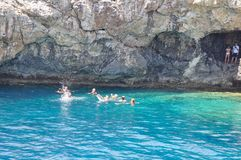 Sea caves in Cyprus Mediterranean sea. View from yachts Stock Image