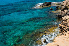 Sea caves near Ayia Napa, Mediterranean sea coast, Cyprus Royalty Free Stock Image