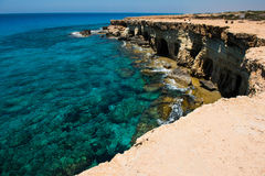 Sea caves near Ayia Napa, Mediterranean sea coast, Cyprus Stock Image