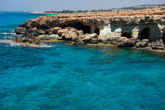 Sea caves near Ayia Napa, Mediterranean sea coast, Cyprus royalty free stock photos