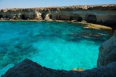 Sea caves near Ayia Napa, Mediterranean sea coast, Cyprus Stock Photos