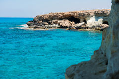 Sea caves near Ayia Napa, Mediterranean sea coast, Cyprus Royalty Free Stock Photography