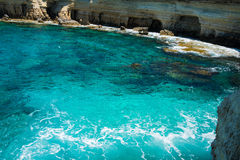 Sea caves near Ayia Napa, Mediterranean sea coast, Cyprus Stock Photography
