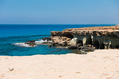 Sea caves near Ayia Napa, Mediterranean sea coast, Cyprus Stock Photos
