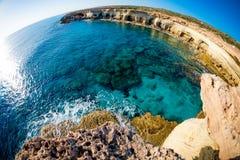 Sea caves near Cape Greco. Ayia Napa, Cyprus Stock Images