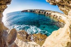 Sea caves near Cape Greko. Mediterranean Sea. Cyprus Royalty Free Stock Photo