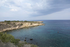 Sea caves near Cape Greko. Mediterranean Sea,Cyprus Royalty Free Stock Photography
