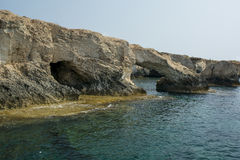Sea caves near Cape Greko. Mediterranean Sea,Cyprus Stock Photography